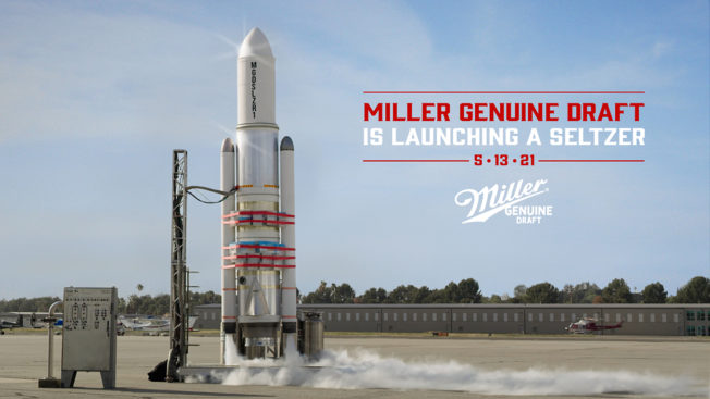 A rocket sits on a pad next to the headline Miller Genuine Draft Is Launching a Seltzer