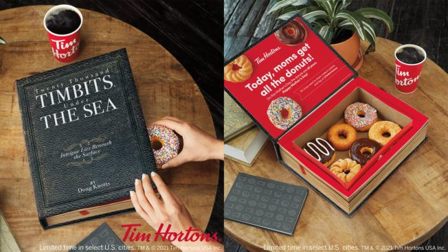 Side by side picture of a closed and open box of doughnuts in a box designed to look like a large book