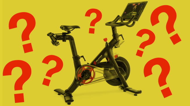 peloton bike with a bunch of red question marks floating around it