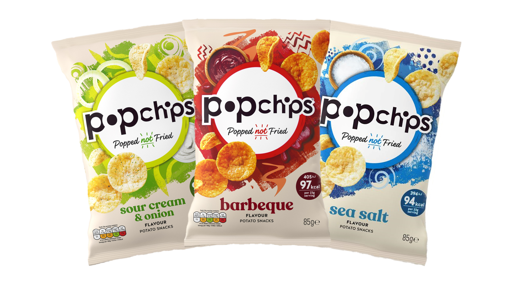 Packets of Popchips crisps