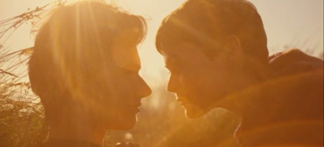 a couple kiss in the sunshine
