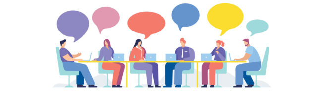 illustrated people sitting around a table with thought bubbles over their heads