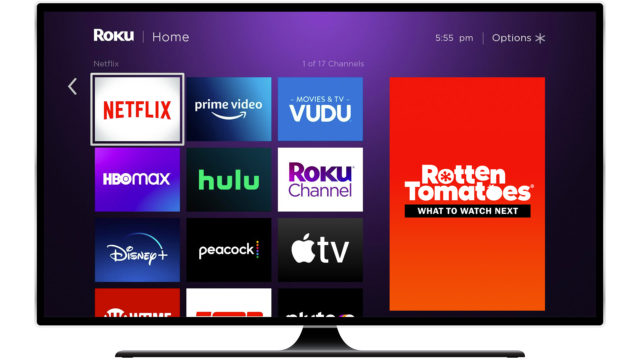 Roku home screen showing Rotten Tomatoes channel