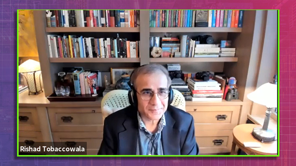 Rishad Tobaccowala on a zoom call in front of a bookcase