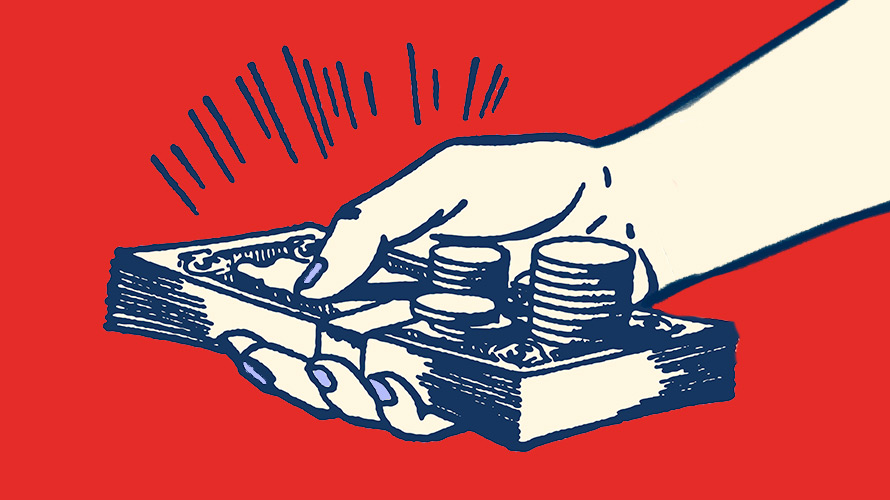 An illustration shows a hand holding a pile of money