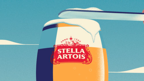 An illustrated pint of Stella Artois