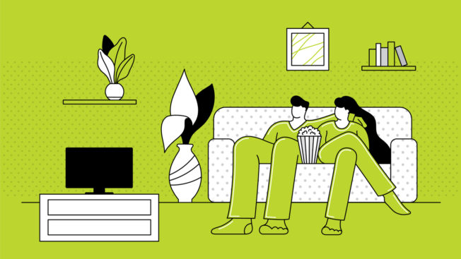people watching tv on a green background