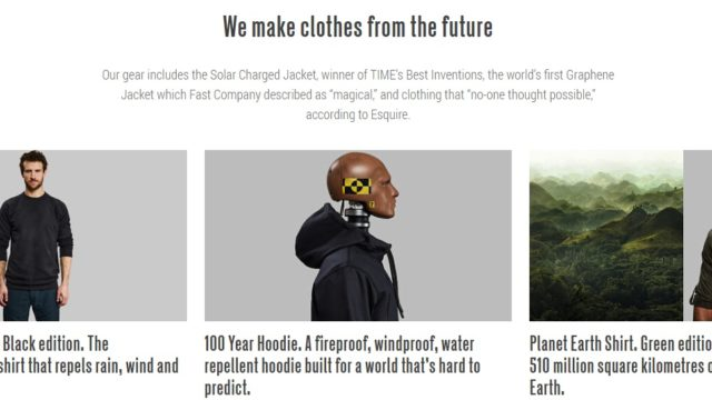 Vollebak's website declares it makes clothes from the future
