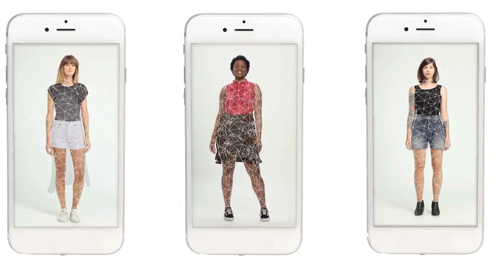 Smartphones show images of clothed people's bodies mapped into triangular segments.