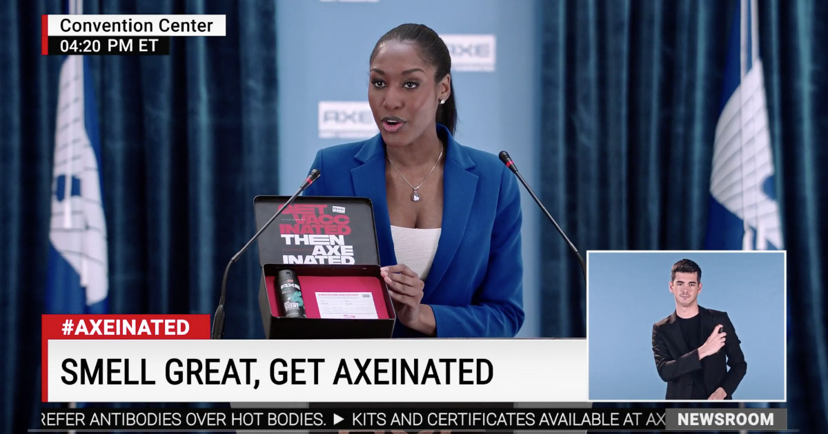 A mock press conference urging men to get vaccinated before getting 'axeinated'