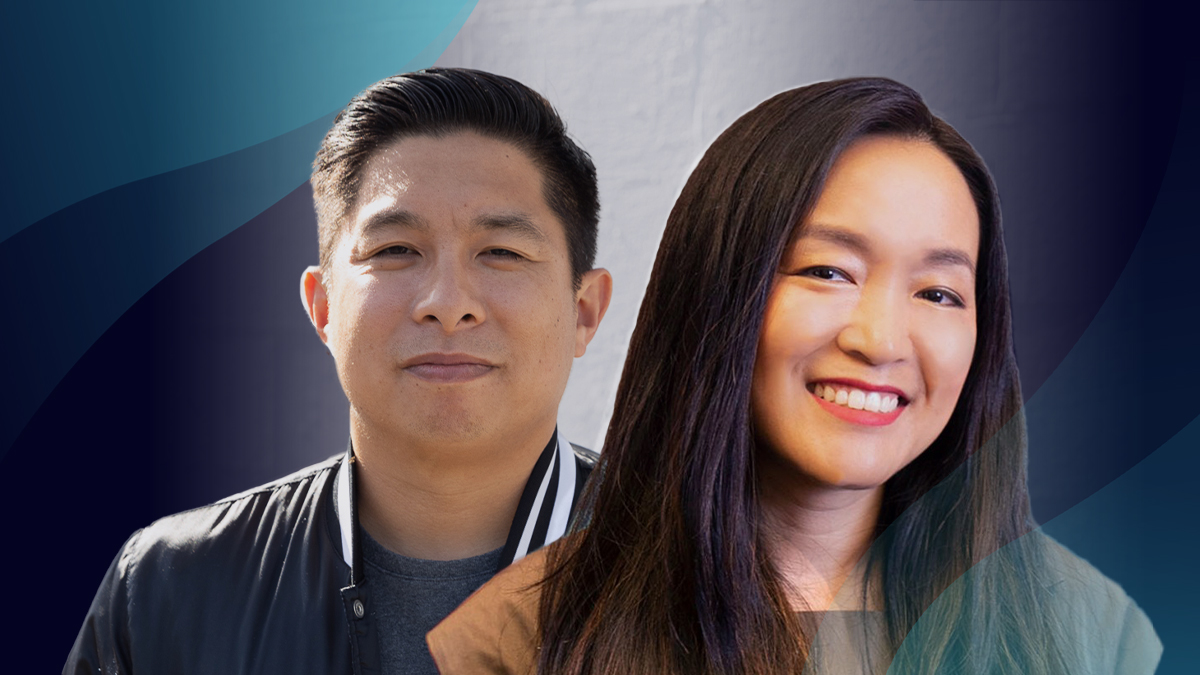 Eric Toda and Soyoung Kang headshots with signature CMO Moves blue wave in top left corner.