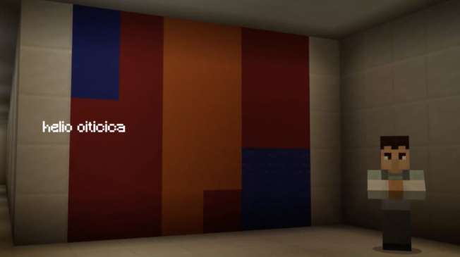 Pixelated version of a Helio Oiticica painting in Minecraft
