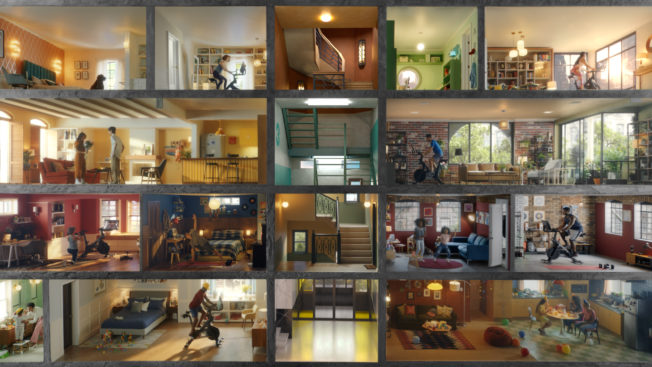 A grid of people working out at home