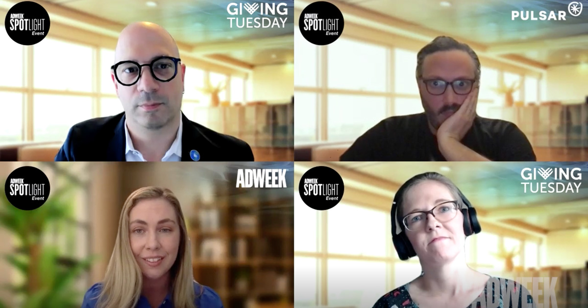 A Zoom screenshot of four people talking