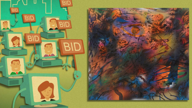 Online buyers place bids for a work of art