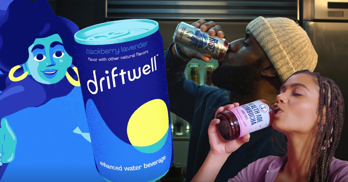 man drinking from a can surrounded by energy and wellness drinks