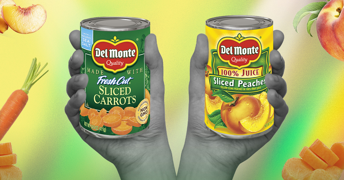 Two cans of Del Monte's preserved fruits and vegetables