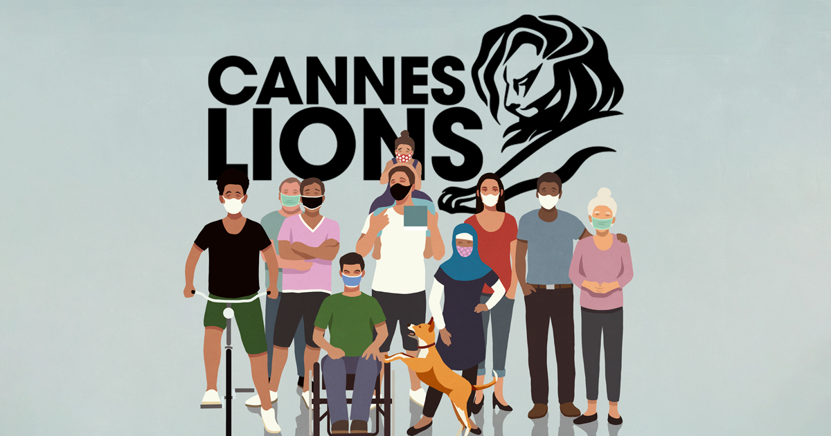 Cannes Lions logo with animation of diverse individuals wearing face masks.