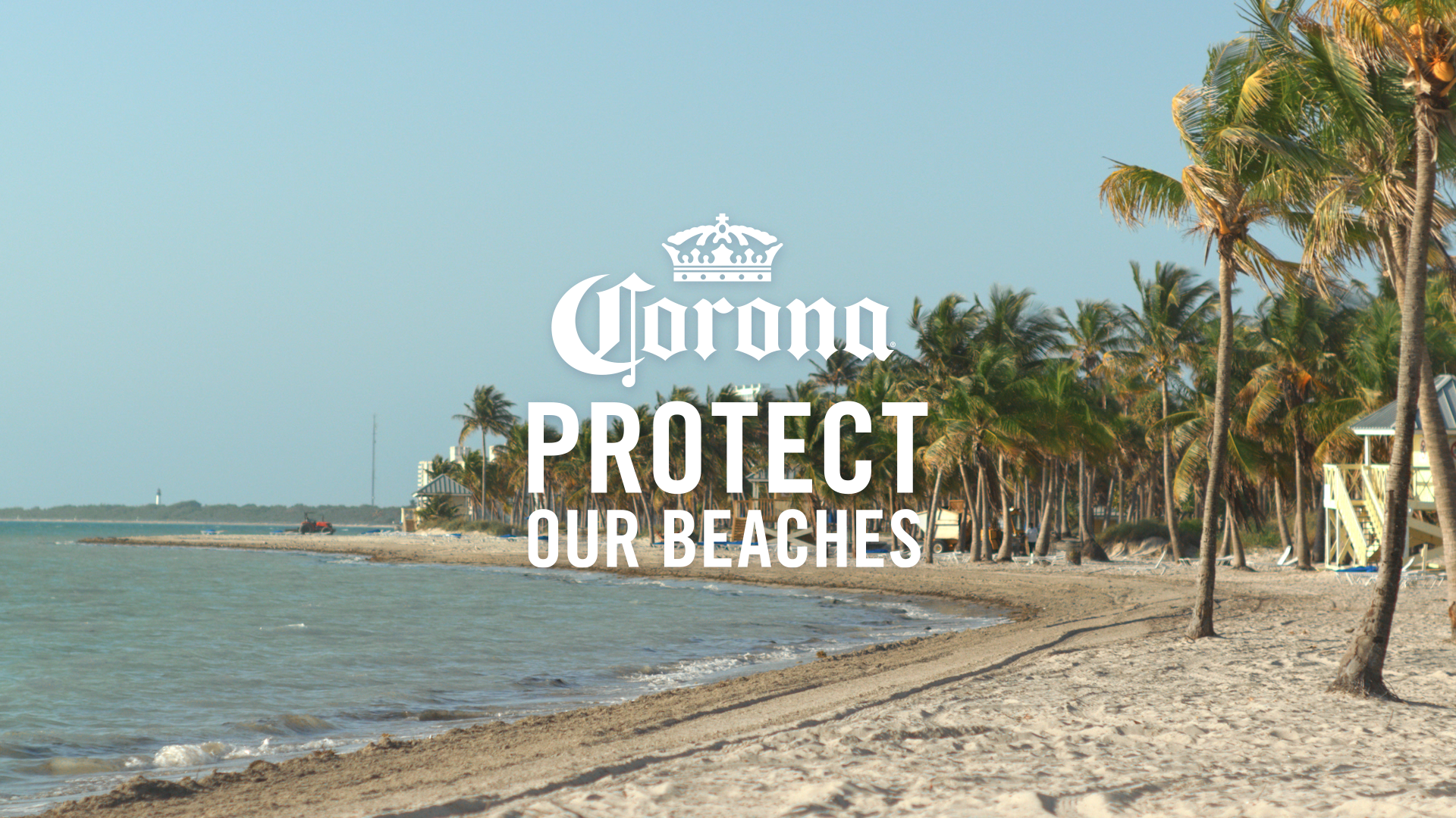 A picture of the beach with the caption Corona: Protect Our Beaches