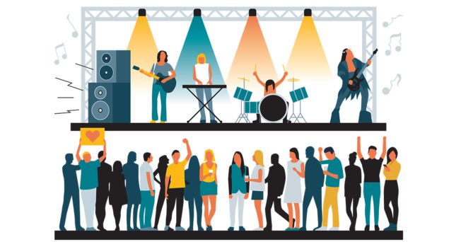 illustration of a band onstage