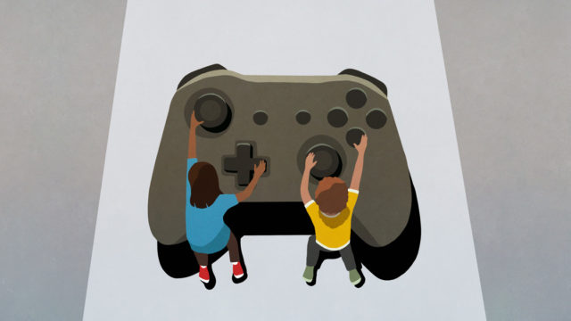 illustration of two people holding onto knobs on a large video game controller