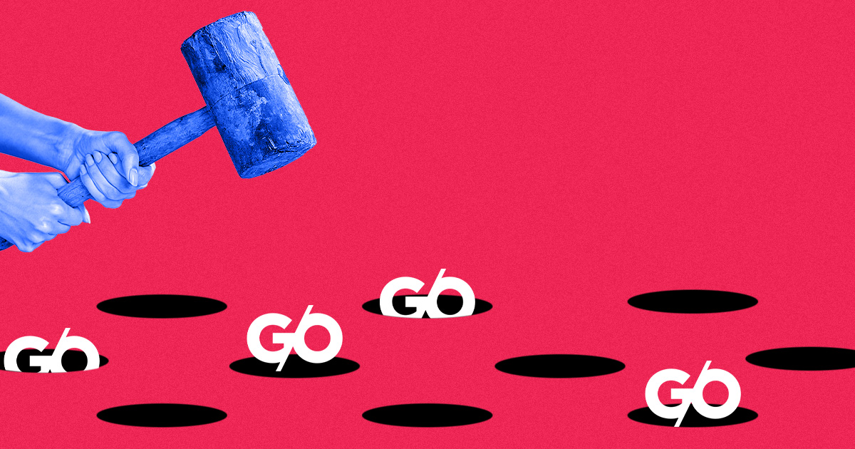 A game of Whack-A-Mole with the G/O Media logo