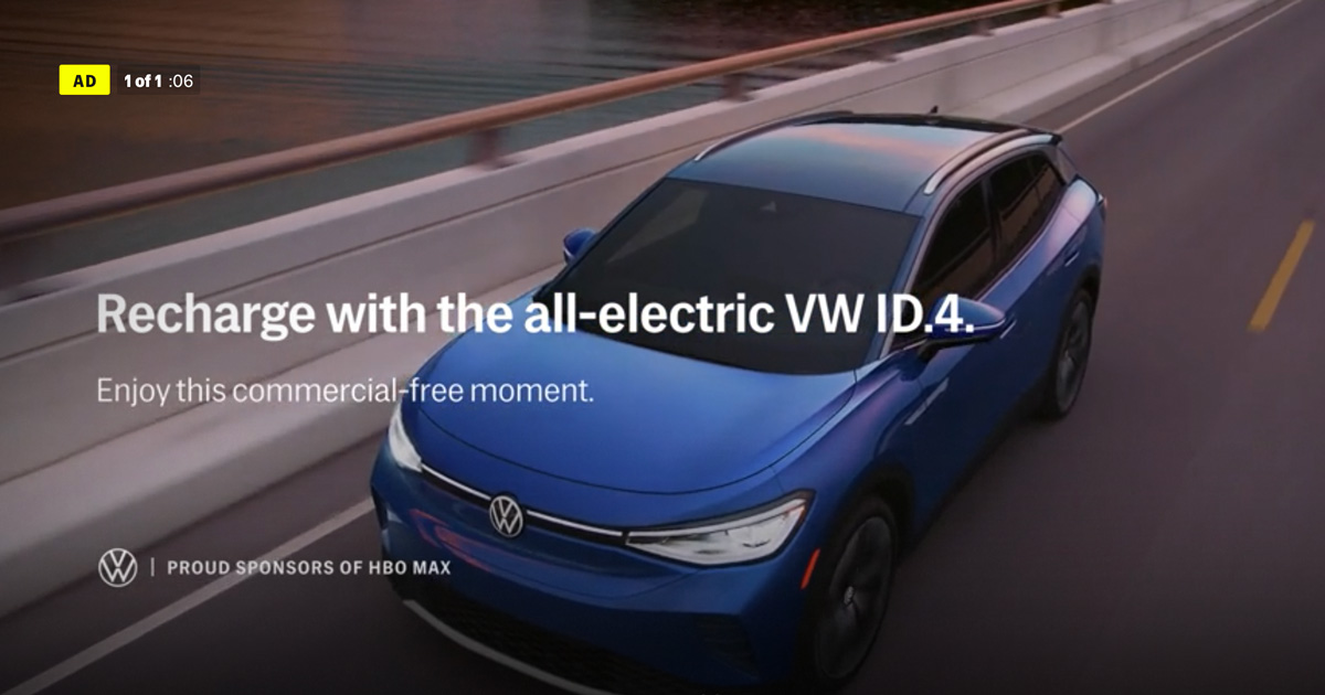 HBO Max With Ads VW ad