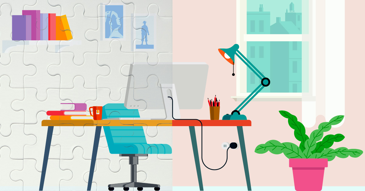 an animation of a desk and chair workspace