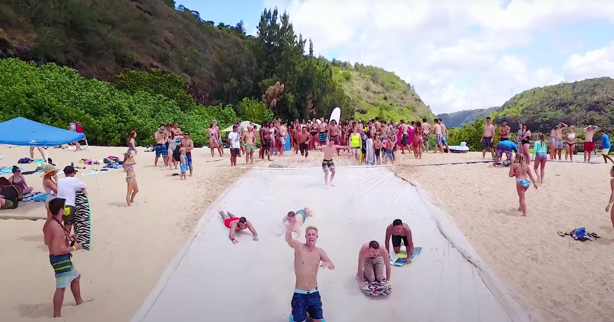 A Peek Under the Plastic of Natural Light's Record-Breaking Water Slide