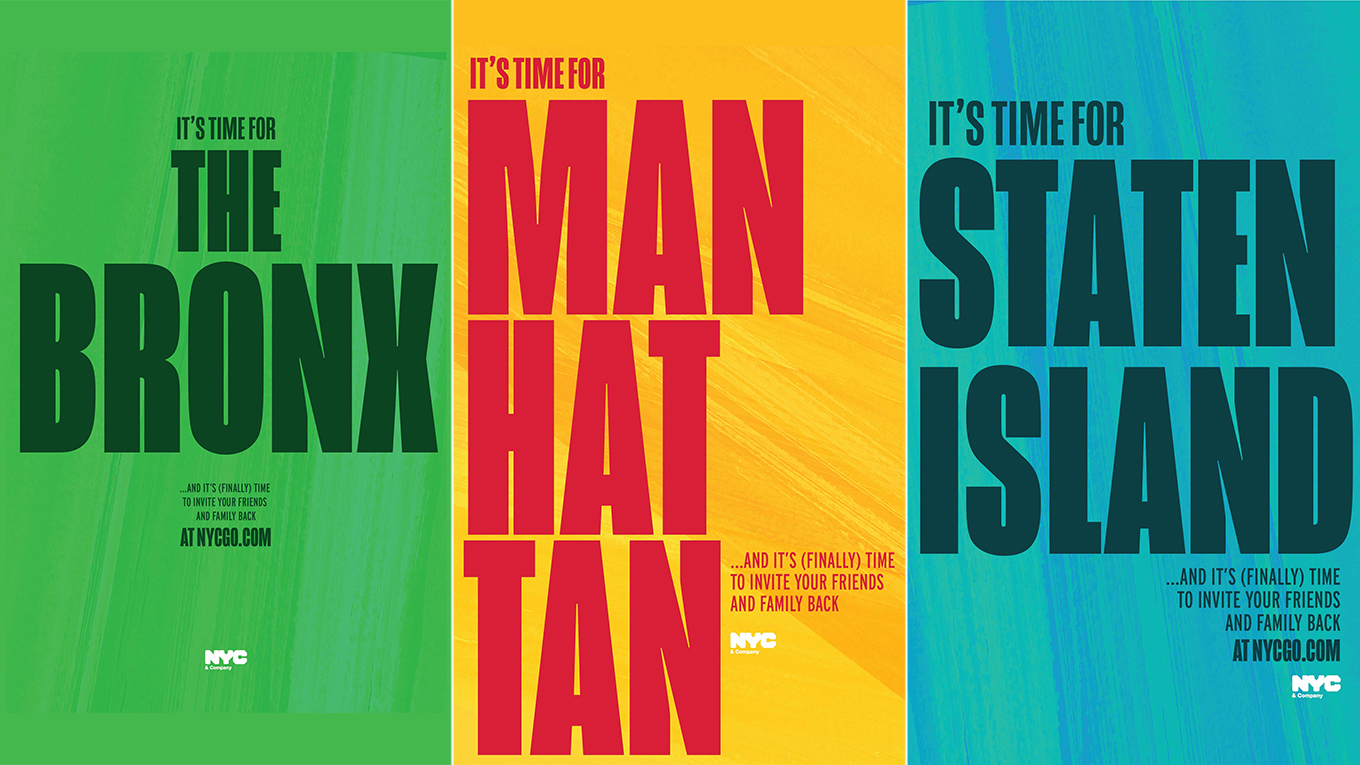 Colorful posters promote returning to The Bronx, Manhattan and Staten Island