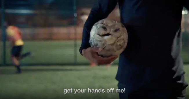 Old school soccer ball offers tough talking sporting advice