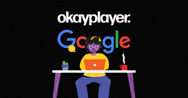 An illustration of a writer at a desk in front of the Okayplayer and Google logos