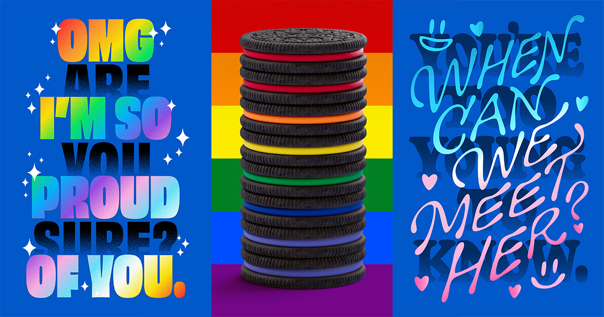 Rainbow-colored Oreos in between two queer-focused art pieces
