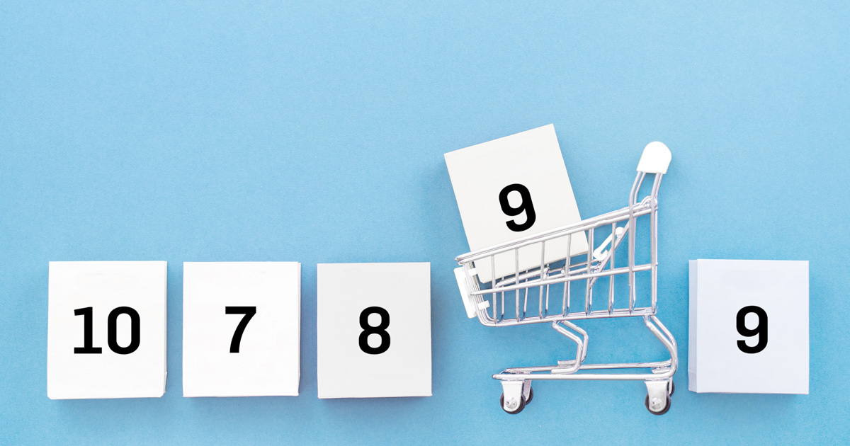 numbers in a shopping cart