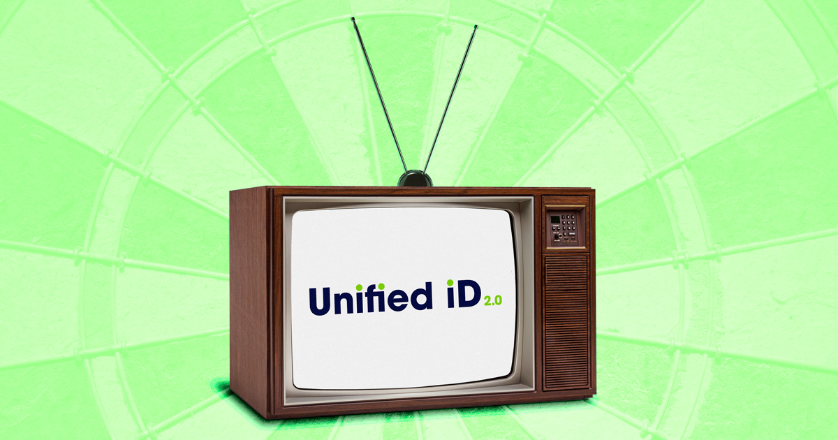 A television with the Unified ID 2.0 logo
