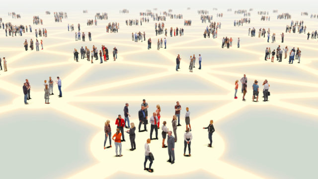 people standing in groups