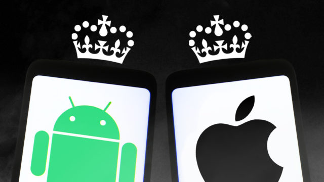 Illustration of the Apple and Android logos with crowns
