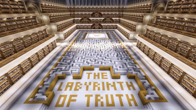 A large Minecraft building shaped like a maze is labeled The Labyrinth of Truth