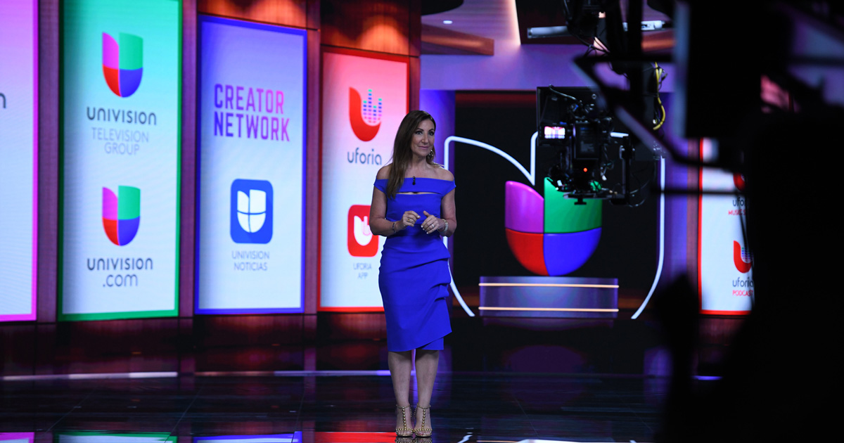 Donna Speciale speaking at the Univision upfront