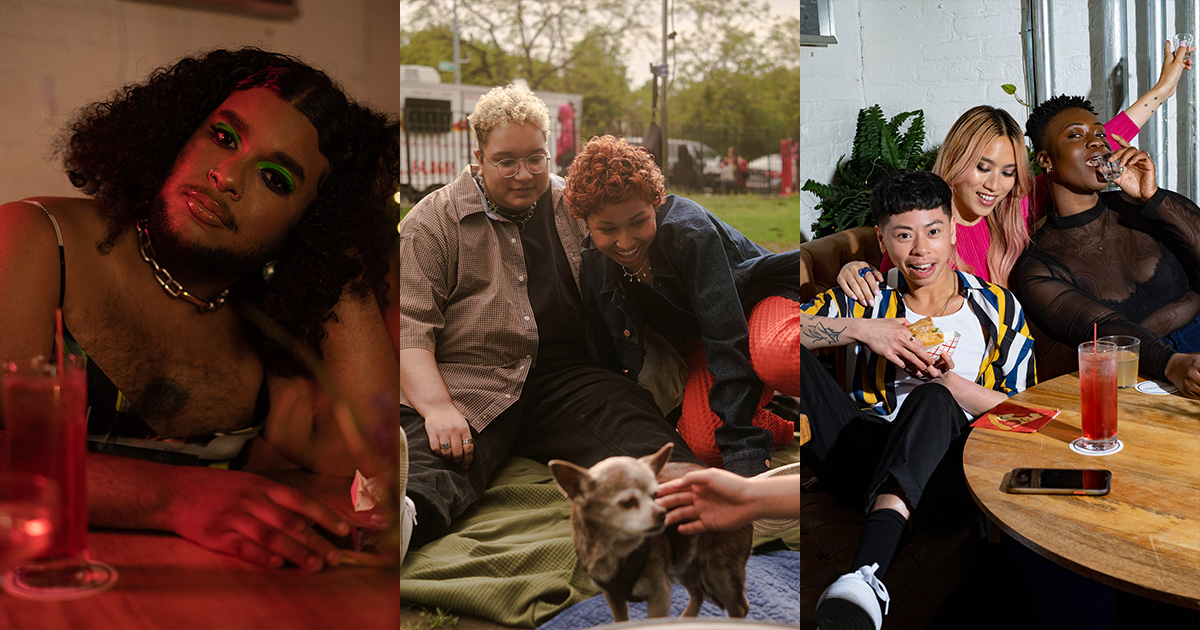 A collage of non-binary people enjoying their time together