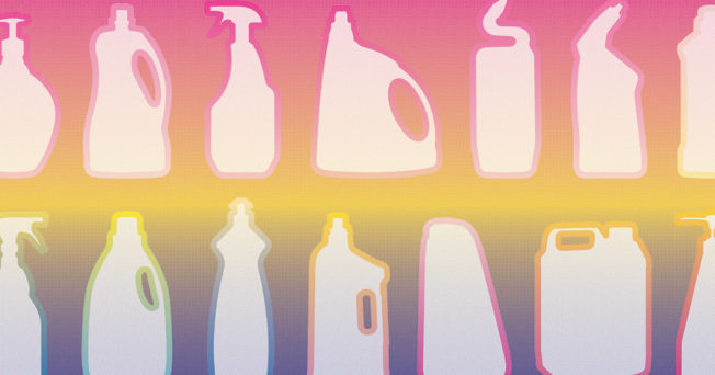 silhouettes of spray bottles and household cleaners on a colorful rainbow background