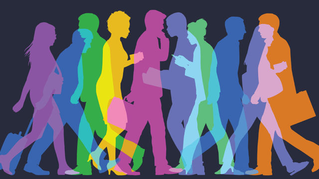 rainbow silhouettes of people holding briefcases and walking