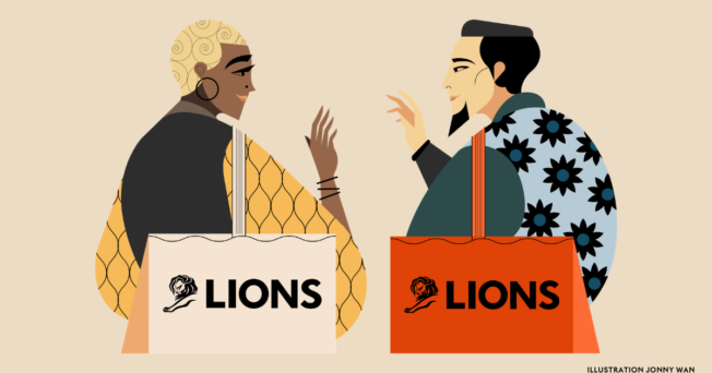 Illustration of two people talking about the Cannes Lions festival
