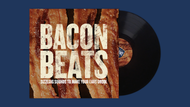 A vinyl record with bacon pictured in the album cover