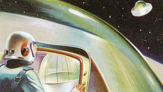 Vintage cartoon of astronaut in outer space.