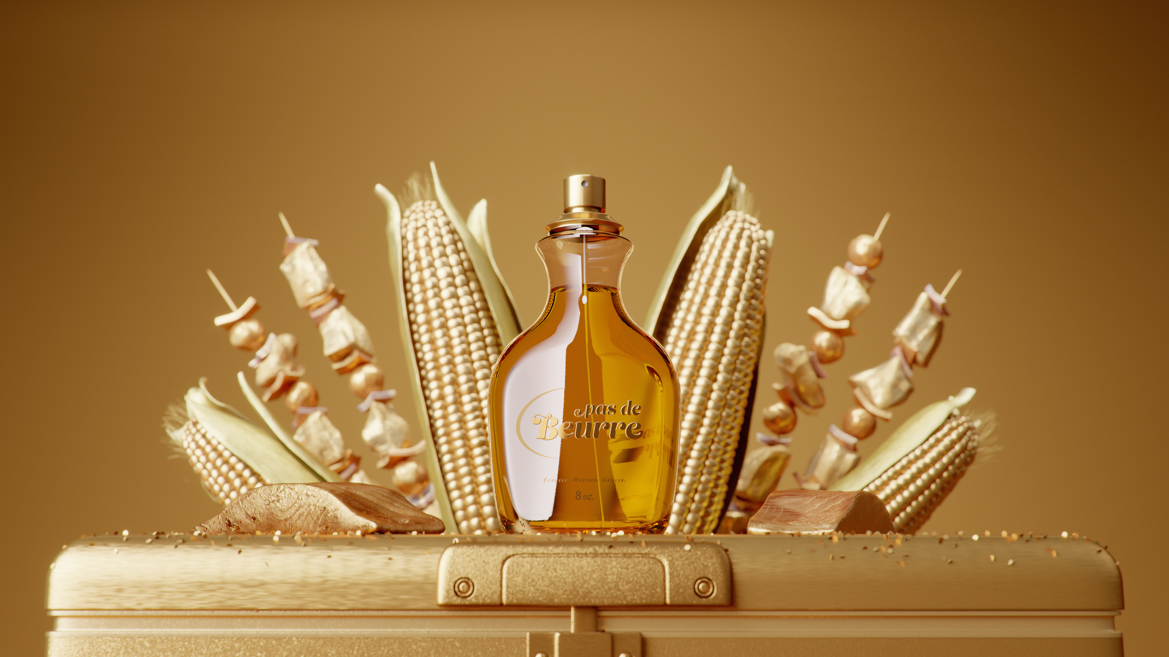 Golden perfume in front of gold-dipped meat and vegetables