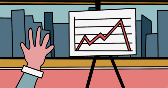Animation of hand raised at a line chart.
