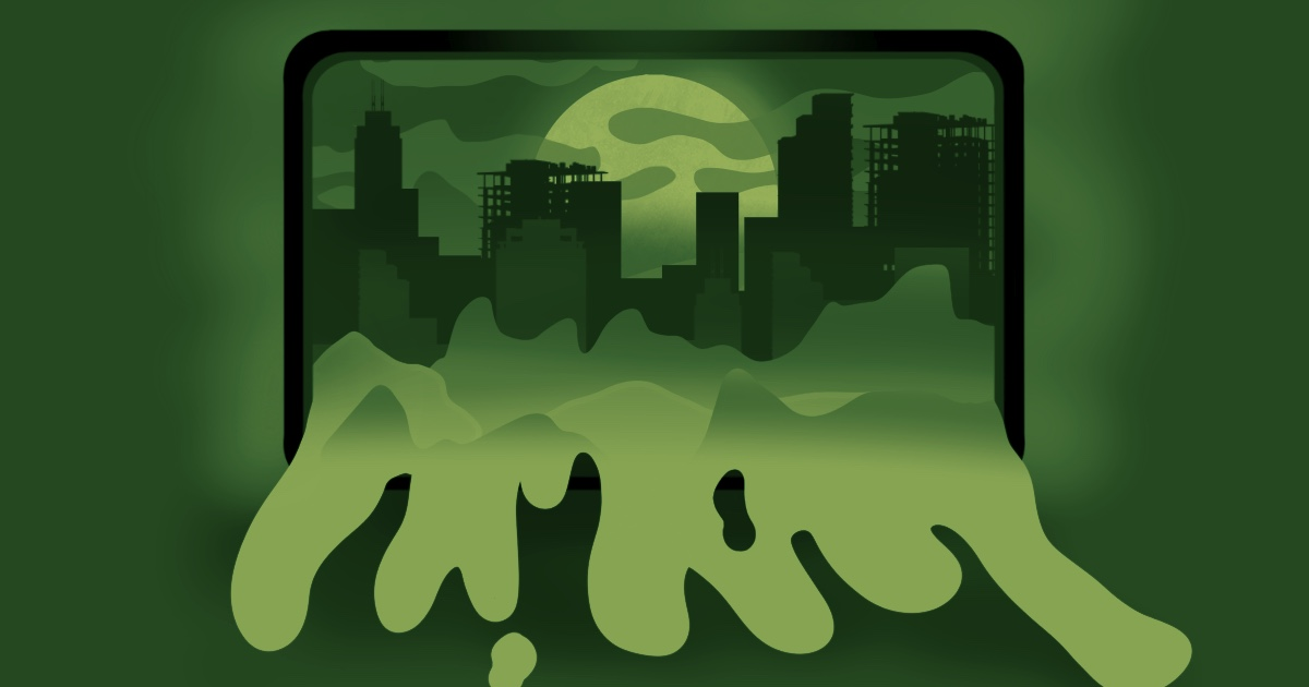 green cityscape on a screen