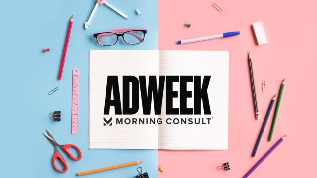 image with various school supplies scattered around a logo that says Adweek Morning Consult