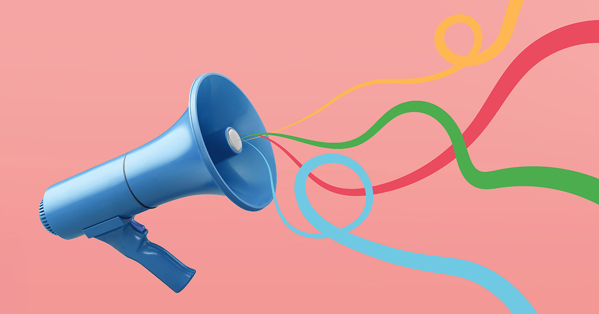 a megaphone with curly, colorful swirls coming out of it